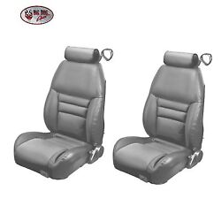 Med. Graphite Front/rear Bucket Seat Upholstery For 1997-98 Mustang Gt Cobra Cp