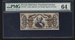 Us 50¢ Fractional Currency Note 3rd Issue Green Back Fr 1331 Pmg 64 V Ch Cu 2
