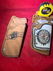 Lot Of 2 Vintage Child Kid Play Cap Gun Leather Holster 1950's Toy Cowboy
