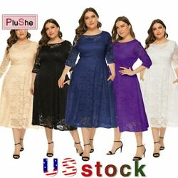 Women Plus Size Pockets Party Wedding Evening Formal Lace Midi Dresses 14W 26W $22.99