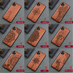 New Natural Wood Carving Hybrid Cover Case For Iphone 12 11 Pro Max Xr Xs 6 7 8