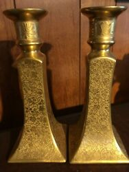 Beautiful Prov Saxe ES Germany Candlestick Holders Gold Set of 2 SXE SACE flower