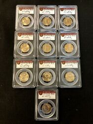 10 Coin 08andrsquo-10andrsquo Missing Edge Lettering Errors Ms 66 1 Pcgs In Oak Box