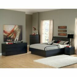 Black 4 Piece Full Platform Bed Furniture Set Dorm Bedroom Home Living Dresser