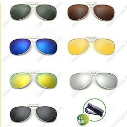 Polarized Sunglasses Flip-Up Clip On Glasses UV 400 Night Vision Driving Goggle