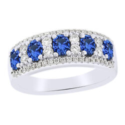 Sapphire Five Stone Band Ring 14k White Gold 14k White Gold Over Sterling Silver