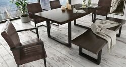 Contemporary Umber Color Dining Table Set Bench Chair Black Metal Leg 6pc Set
