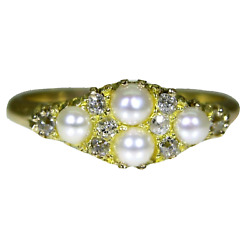 Victorian 1886 Diamond And Pearl 18ct Yellow Gold Cluster Ring Size K Us 5 1/4