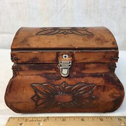 Jewelry Box Leather Carved Handmade Argentina Vintage Flowers 6 X 5 X 4.5 H
