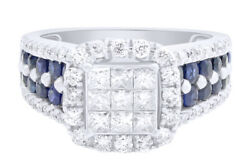 Igi Certified Estate Round Cut Diamond And Sapphire Cluster Ring 10k White Gold