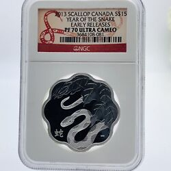 Scarce 2013 Scallop Canada 15 Year Of Snake Silver Proof Pf70 Ultra Cameo Coin