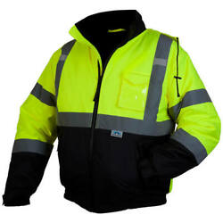 Pyramex Hi-vis Class 3 Insulated Safety Bomber Reflective Jacket Road Work