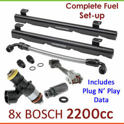 8x Bosch 2200cc Injectors And Fuel Rail Setup For Holden Commodore Ss Executive Vp