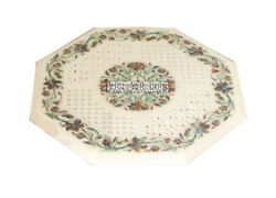 Marble White Octagon Dining Table Top Multi Mosaic Floral Occasion Decor H3961