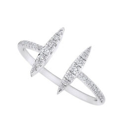 Round Diamond Adjustable Promise Band Ring Solid 14k White Gold
