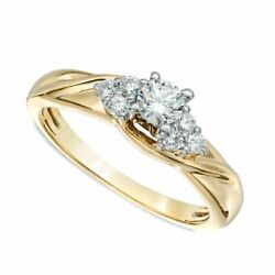 1/2 Ct Natural Diamond Solitaire Engagement Ring In Solid 10k White Gold