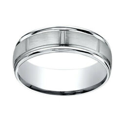 10k White Gold 7mm Comfort Fit Satin Finish Center Cuts Edge Band Ring Sz 13