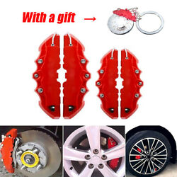 4pcs 3d Car Disc Brake Caliper Covers Front And Rear Accessories W/ Keyring Gifts