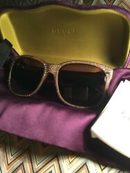 GUCCI RHINESTONE Crystal Pave GG3871S Havana Brown Sunglasses BNB 100% AUTHENTIC