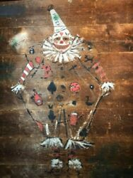 Antique American Life Size Clown Painting Circa 1890