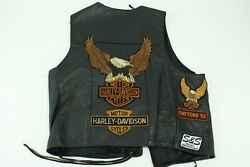 Steer Brand Leather Black Motorcycle Vest with Harley Davidson Patches Size XL