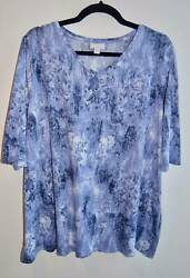 J. Jill Pure Jill V-Neck Tunic Blue Abstract Design Half Sleeve Size 2X