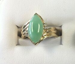Collectible14k Y Gold Lady's Ring W/4 Diamonds Flanking 1 Jade Stone W/appraisal