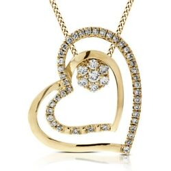 0.20ct Round Real Diamond 14k Yellow Gold Two Piece Heart Pendant Valentine Gift