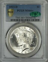1923-D Peace Dollar PCGS MS66+  CAC Approved!  Secure Holder - Only One Finer!!!