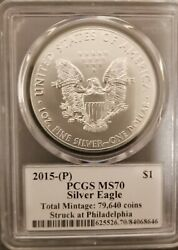 2015 (P) Silver Eagle PCGS MS70 Mercanti Signed - Flag Label - Pop 1