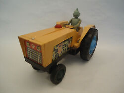 Vintage Rare Robot Yellow Tractor Tin And Plastic Battery Toy Ussr Russian - Works