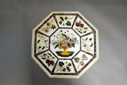 Marble Coffee Dining Table Top Fruit Inlay Marquetry Arts Hallway Decor H3973