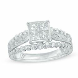 1ct Square Princess Quad Diamond Vintage Style Engagement Ring In 10k White Gold