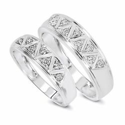 1/3 Carat T.w. Diamond His And Hers Wedding Band Set 10k White Gold