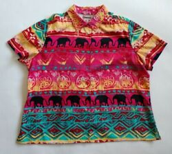 CHICO'S Pink Blue Elephants Tribal Button Shirt Top ~ Women's 3 (XL X-LARGE)