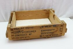 Empty Wooden Ammo Crate With Side Handles 13 13/16w X 19 3/8l X 4 5/8t Z4399