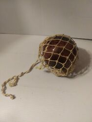 Antique Vintage Purple Blown Glass Fishing Float Buoy With Netting 5 Diameter