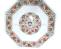 White Marble Coffee Table Top Hakik Inlay Marquetry Furniture Garden Decor H3010