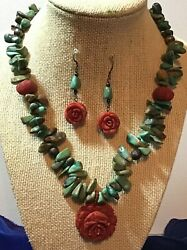 Big Vintage Green Turquoise Nugget Carved Coral Pendent Necklace With Earrings