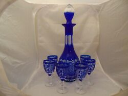 Bohemian Cobalt Decanter W/stopper And 6 Small Cordial Glasses Cut Glass Mint