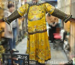 74 Chinese Silk Embroidery Gold Line Emperor Dragon Robes Mink Winter Clothes