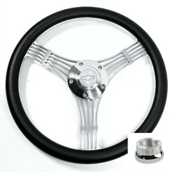 14 Polished Banjo Steering Wheel Black Wrap Chevy Horn Button Adapter A01
