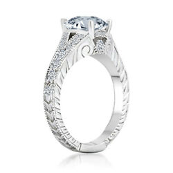Round Simulated Diamond Solitaire With Accents Split Band Ring 14k White Gold