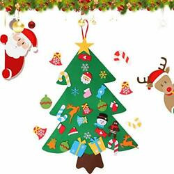 Fixget DIY Felt Christmas Tree Set with Ornaments for Kids