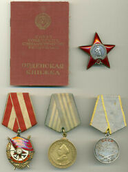Soviet Russian Ussr Documented Group With Medal Of Nakhimov 11916