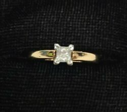 14k Yellow Gold .26 Ct Princess-cut Diamond Solitaire Ring By Gordons Size 7