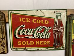 Vintage 1930's Coca-cola Square Metal Bottle Sign Gas Station Country Store Oil