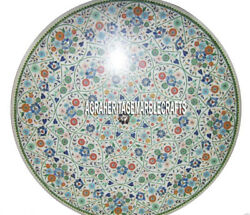 White Marble Dining Round Table Pietradura Inlay Art Home Occasional Decor H3213