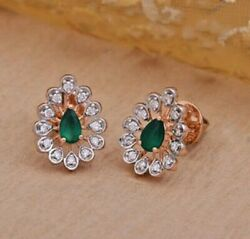 0.86ct Natural Round Diamond 14k Solid Rose Gold Emerald Screw Back Stud Earring