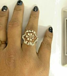 Christmas 1.74ct Gh Vvs2 Pear Round Diamond 14k Solid Rose Gold Cluster Ring